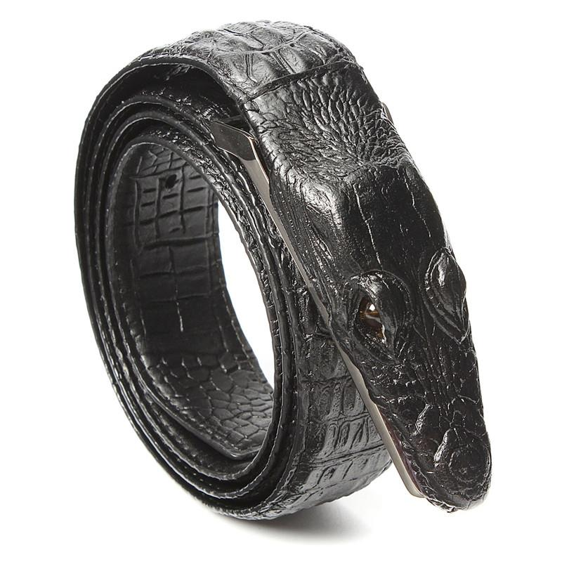 Men Alligator Crocodile Skin Imitation Second Floor Cowhide Leather Alloy Adjustable Buckle Belt