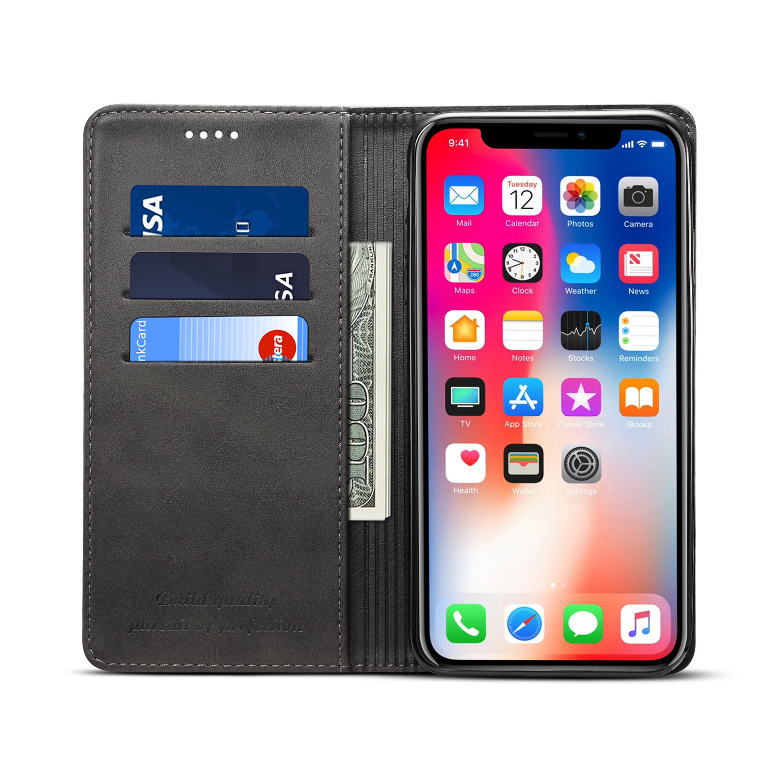 Bakeey Protective Case For iPhone XS Magnetic Flip Wallet Card Slot Cash Pocket Full Body Cover