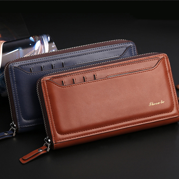 10 Card Slots Men Genuine Leather Business Cellphone Wallet