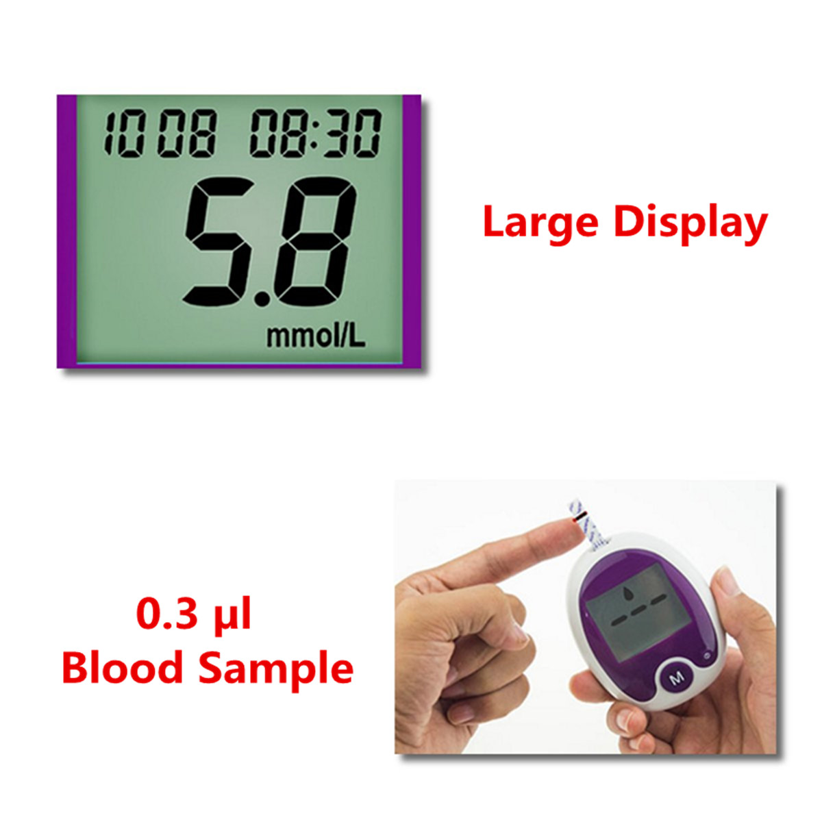 Blood Glucose Meter Diabetic Testing Monitor Glucometer Automatic Identification