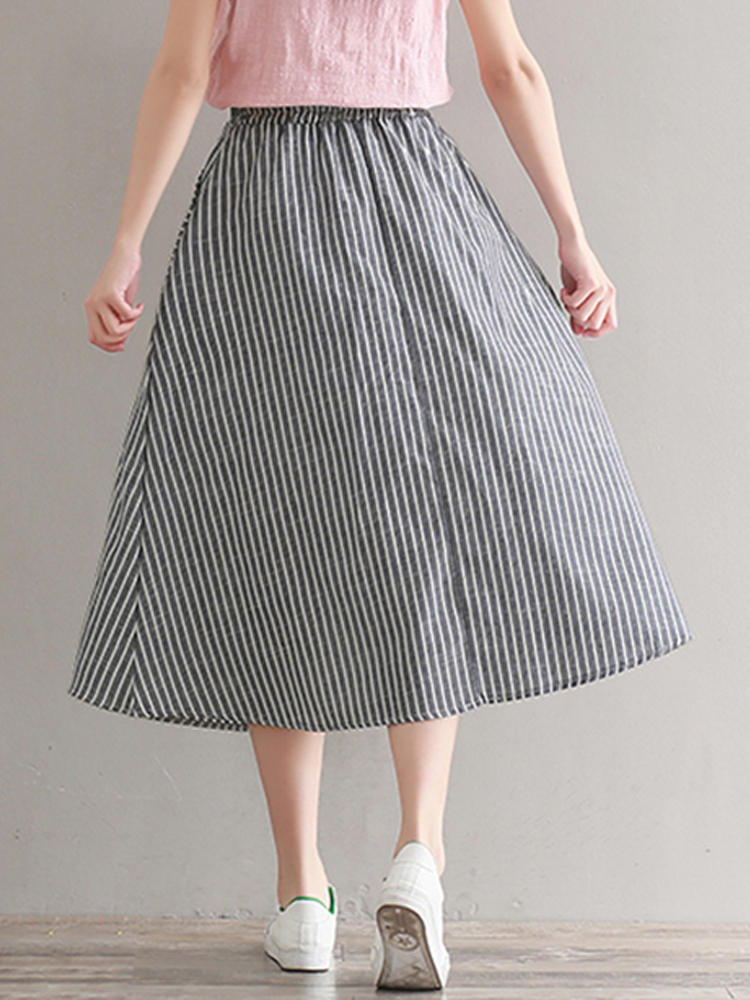 Women Casual Stripe High Elastic Waist Loose Skirts
