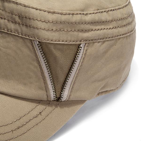 Unisex Zipper Cotton Military Baseball Cap Vintage Army Flat Cadet Hat For Men