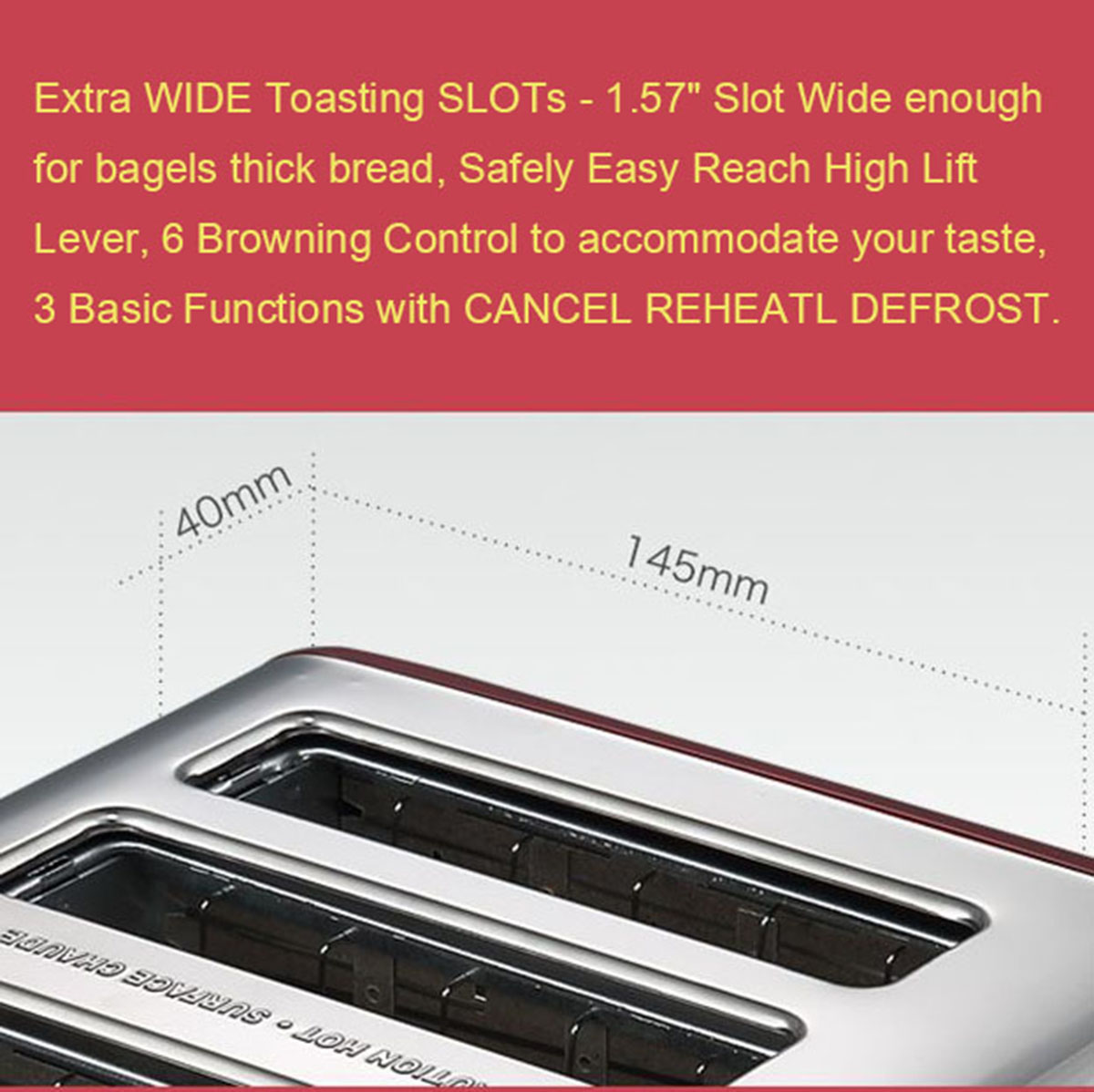 4 Slice Wide Slots Stainless Steel Electric Toaster Bread Maker Clamp Butter Blade 2x Grill