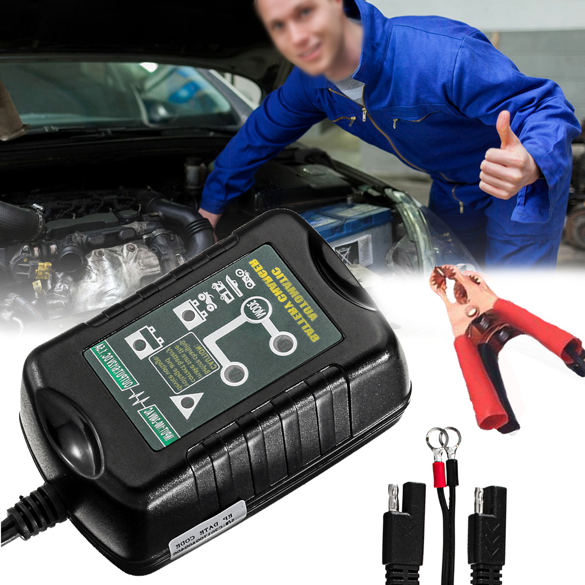 6V/12V 1.5AMP LED Indicator Portable Automatic Car Battery Charger for Car Motorcycle