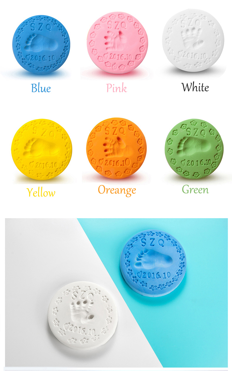 Vvcare 5 Colors Kids Air Drying Clay Baby Handprint Footprint Imprint Kit Casting Inkpad Fingerprint