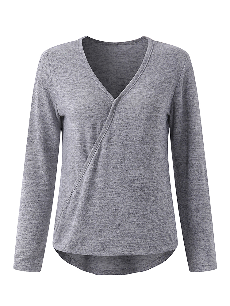 Sexy Women V-Neck Long Sleeve Slim T-Shirt