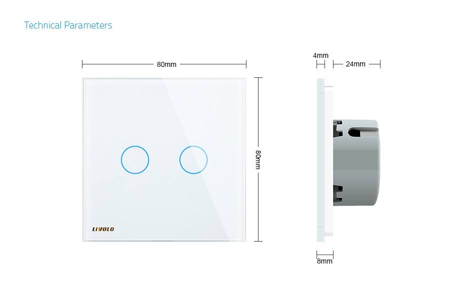 Livolo White Glass Touch Panel EU Standard Intermediate Switch VL-C702S-11