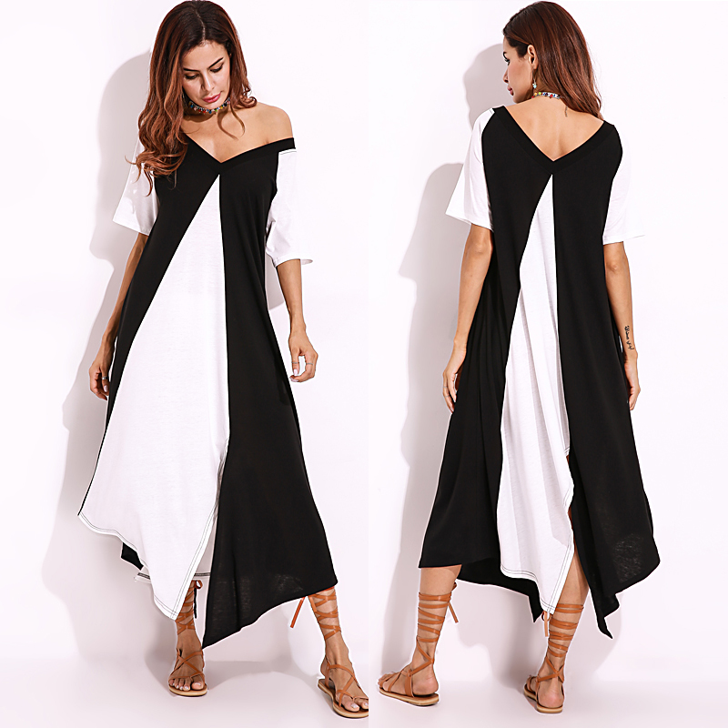 Plus Size Sexy Women Off Shoulder Irregular Hem Dress