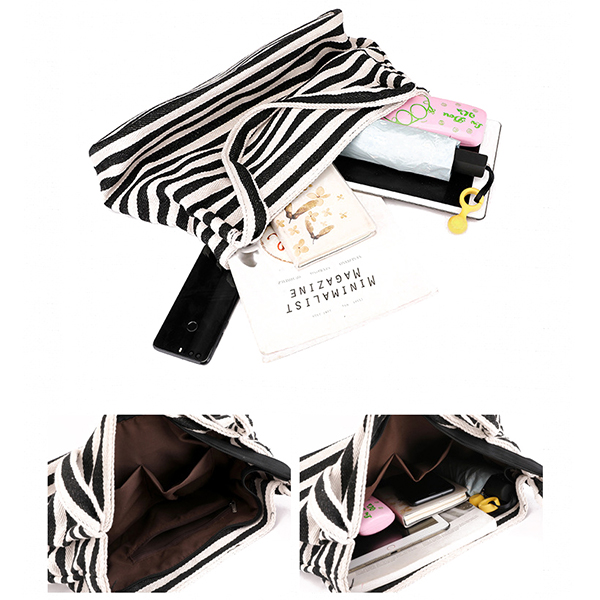 KVKY Women Canvas Handbag Stripe Fashion Casual Shoulder Bag