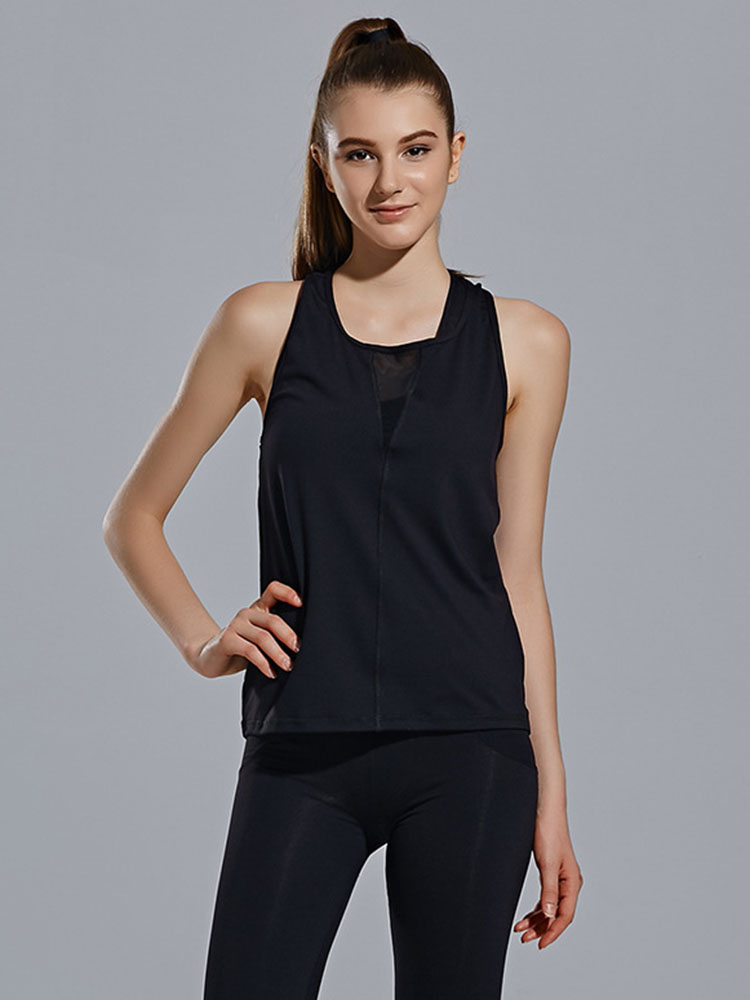 Women Summer Mesh Patchwork Sleeveless Yoga Fitness Vest