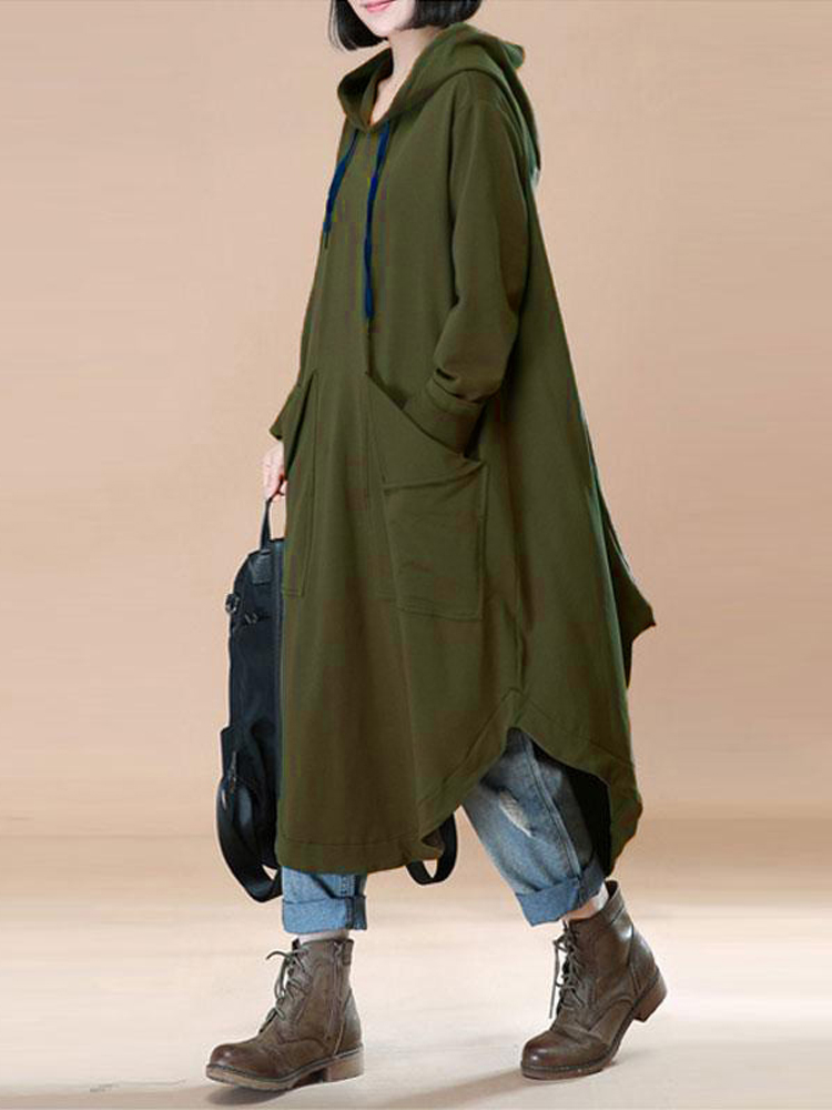 Casual Women Solid Color Loose Long Sleeve Hooded Dress