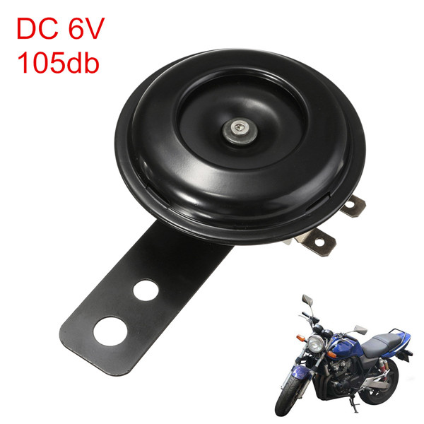 DC 6V 105dB Black Mount Siren Electric Motorcycle Horns Waterproof Metal Security Alarm