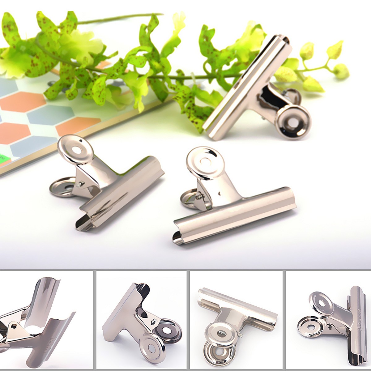 10pcs 31mm Stainless Steel Silver Bulldog Clips Money Letter Paper File Clamps