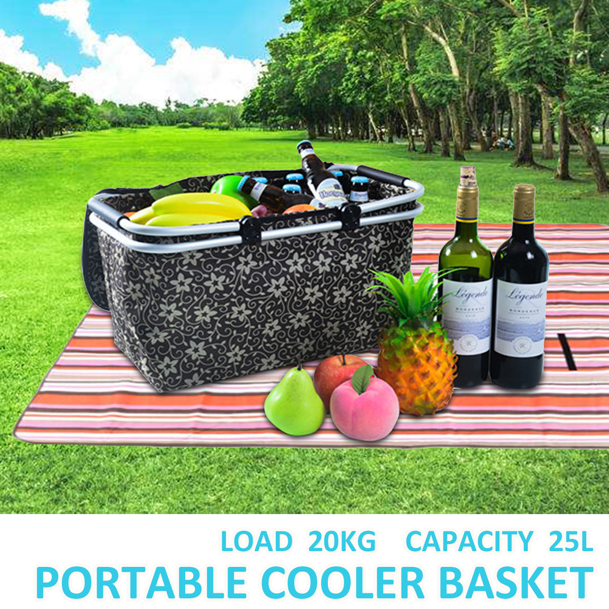 25L Oxford Picnic Basket Cooling Bag Cooler Box Food Lunch Insulation Pouch Outdoor Camping Travel