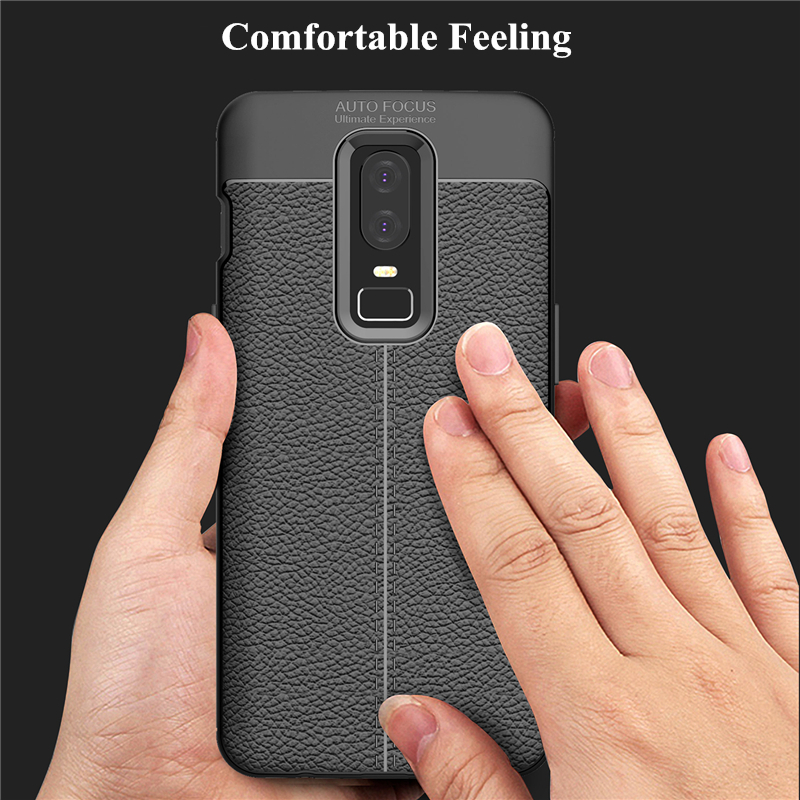 Bakeey Leather Texture Shockproof Soft TPU Protective Case For Oneplus 6
