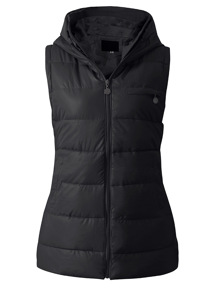 Casual Solid Hooded Women Thick Warm Vest Coat