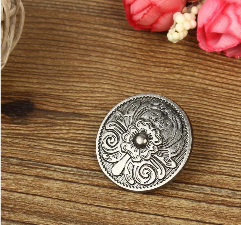 10Set DIY Leather Handbag Wallet Decoration with Antique Round Buttons and Sliver Rivets Hole Flower