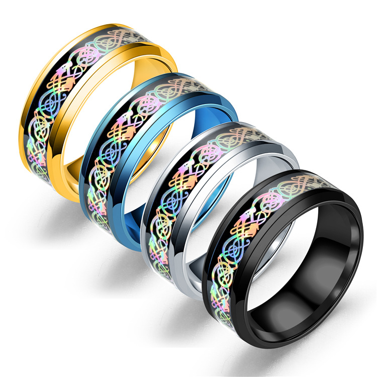 Stainless Steel Dragon Pattern Ring Multicolor Couple Rings