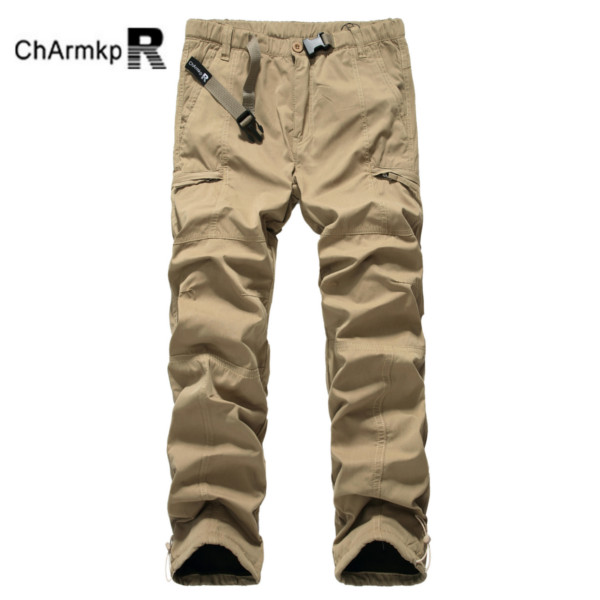 Mens Polar Fleece Windproof Zipper Pockets Cargo Pants