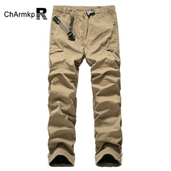 Mens Polar Fleece Windproof Zipper Pockets Cargo Pants