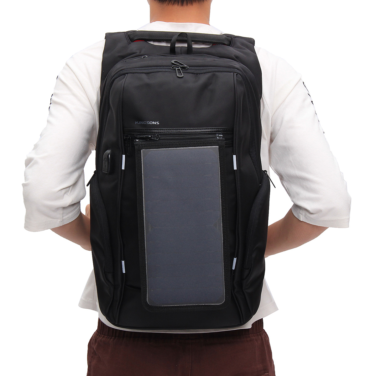 15.6 Inch Outdoor Travel Solar Panel Backpack with USB Charger Waterproof Laptop Bag