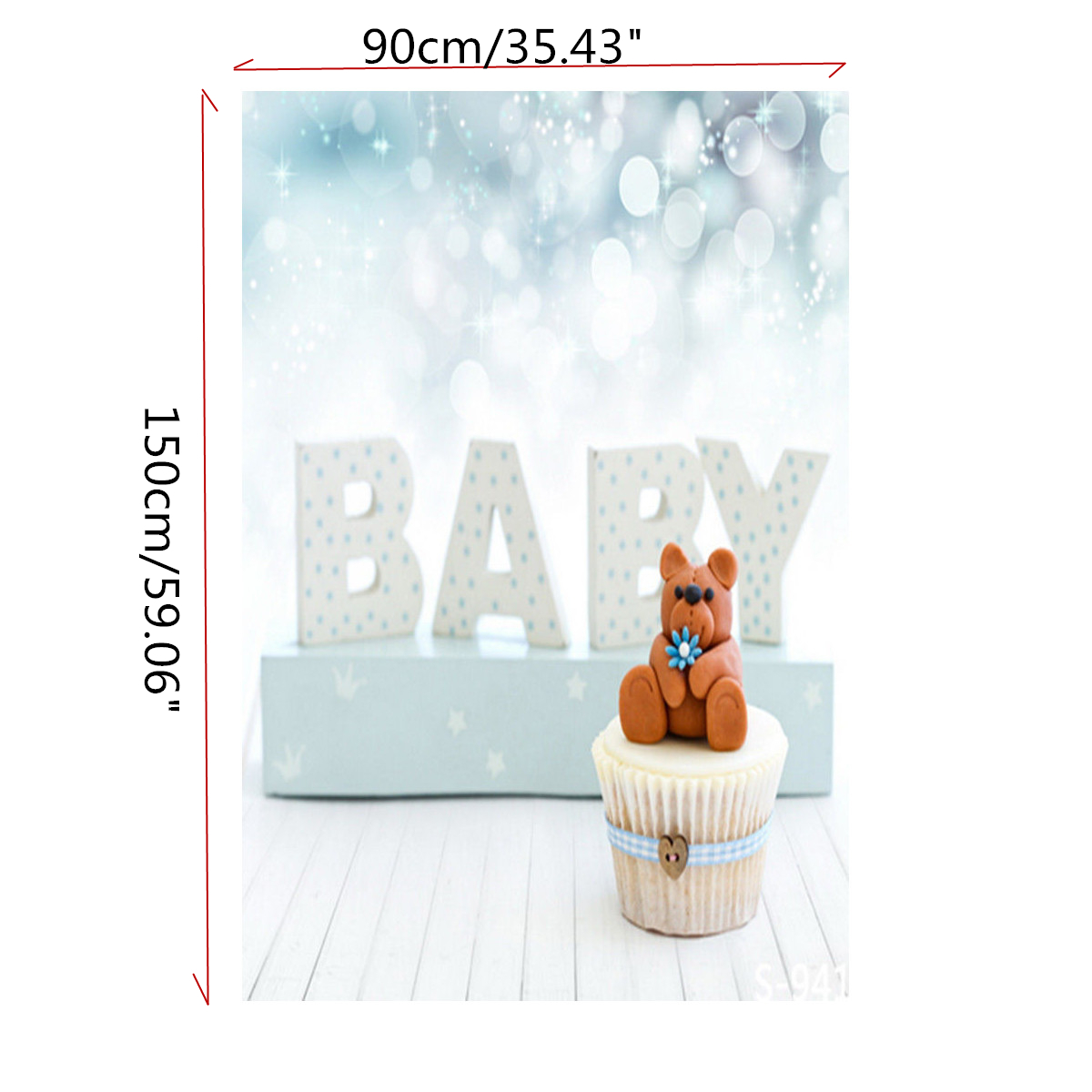 3x5FT Newborns Baby & Teddy Bear Photography Backdrop Studio Prop Background