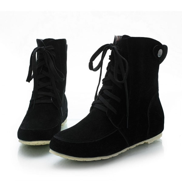 Large Size Women Casual Lace Up Ankle Short Boots