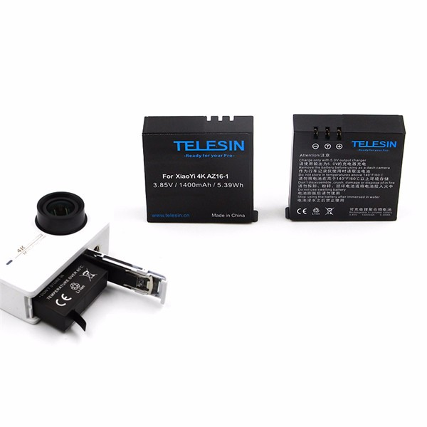 TELESIN 3.85V 1400mAh Sport Camera Battery for Xiaomi Yi II 4K