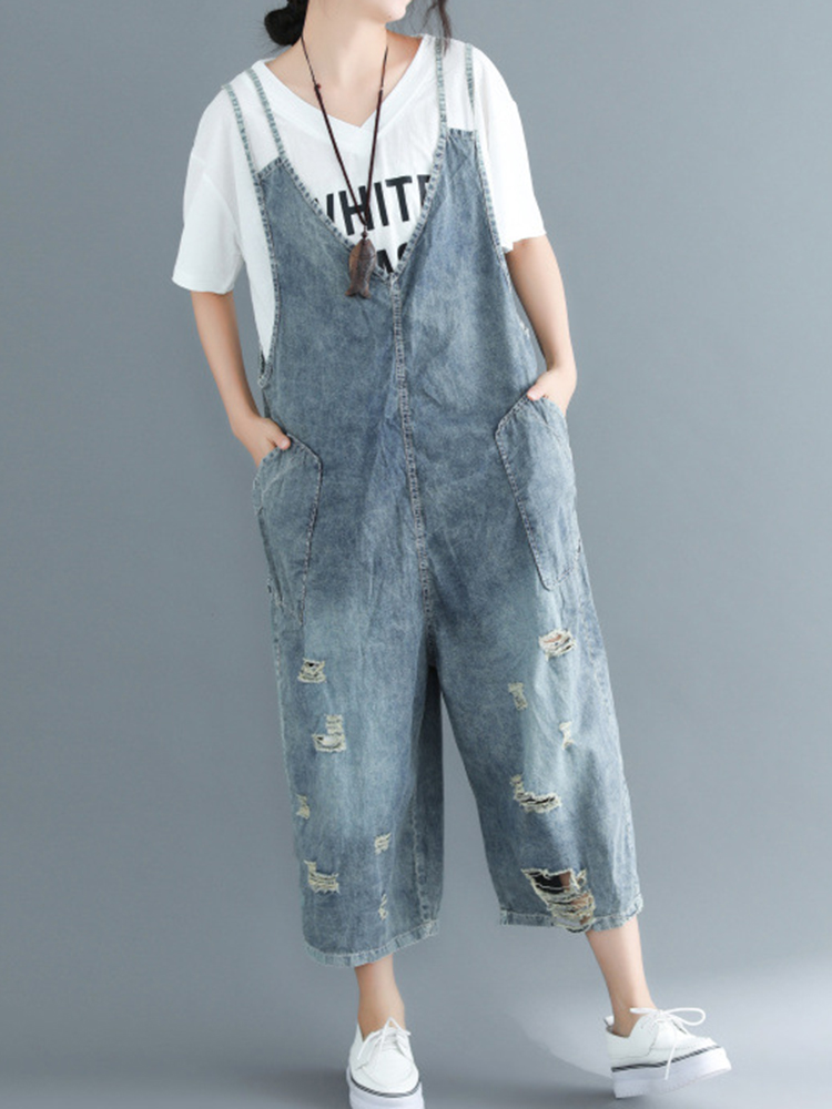 Women Casual Denim Sleeveless Jumpsuit Pants with Pockets