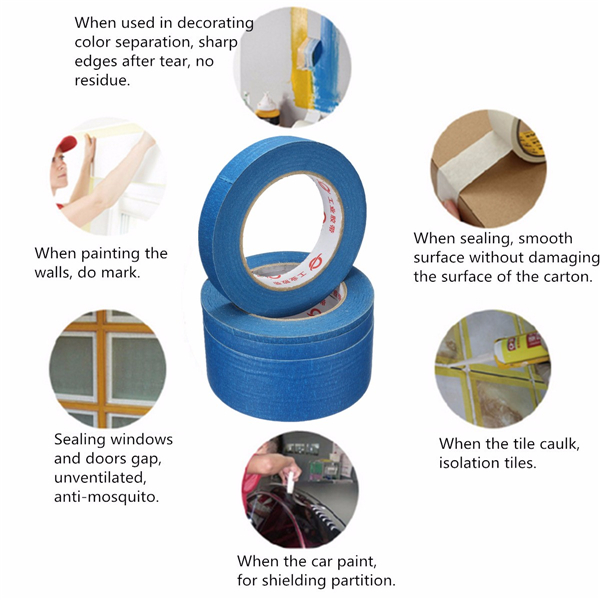 50M Blue Masking Tape High Temperature Resistant Polyimide Adhesive Tapes 6/12/20/50mm