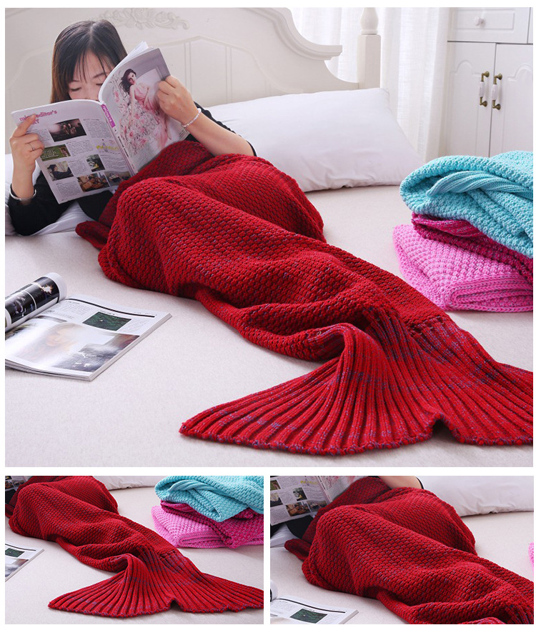 Knitted Handmade Mermaid Tail Blankets Yarn Crochet Mermaid Blanket Kids Throw Bed Wrap Super Soft Sleeping Bed