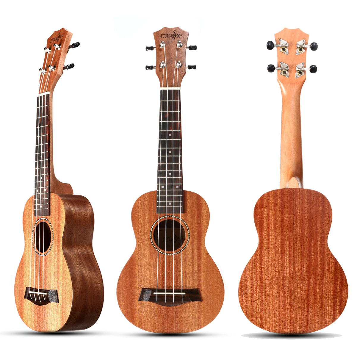21 Inch 4 Strings 15 Frets Wood Color Mahogany Ukulele Musical Instrument With Guitar picks/Rope
