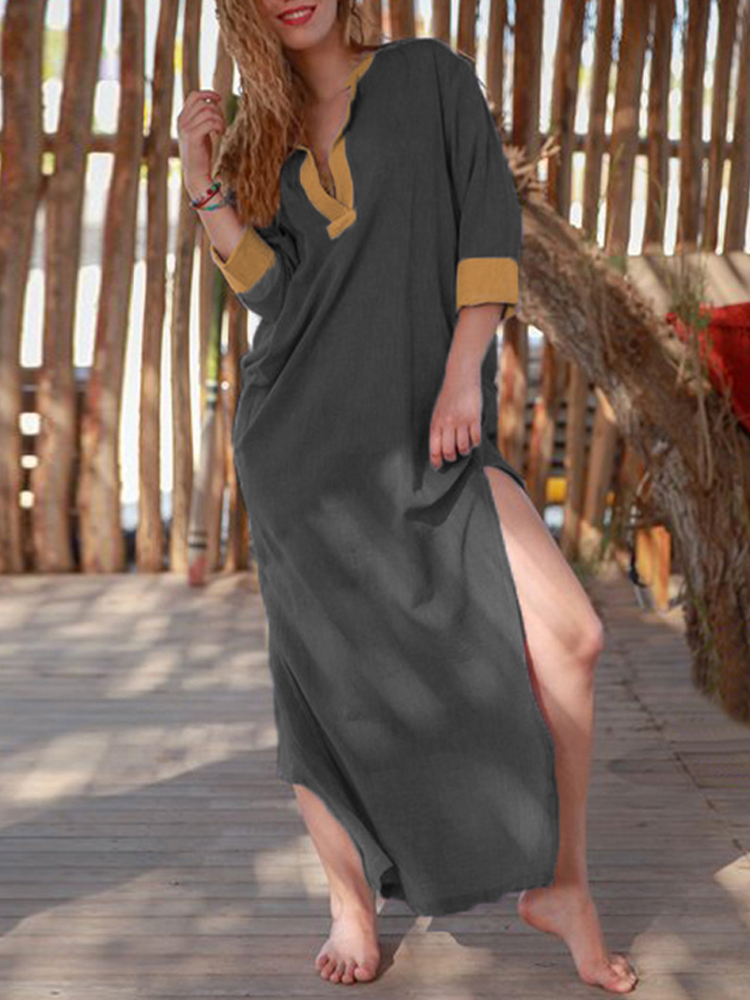 Women Sexy V-neck Patchwork Boho Long Sleeve Side Split Maxi Dress