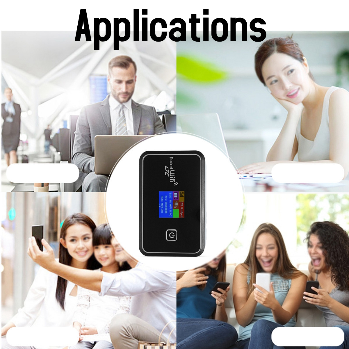 6 In 1 Portable 4G Mobile WiFi Module MIFI Wireless Pocket Hotspot Router Broadband LCD