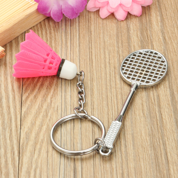 Mini Badminton Racket And balls Sports Keyring Pendant Keyfob Keychain