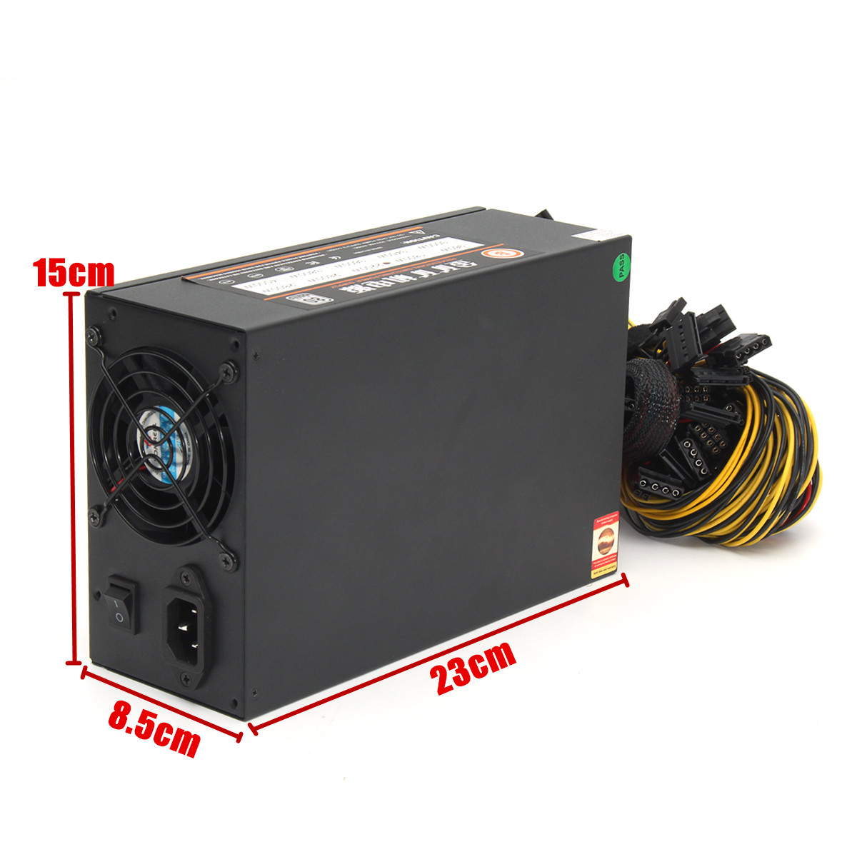 2200W Mine Chassis Power Supply Rig Coin Miner Black Conversion 230*150*85MM