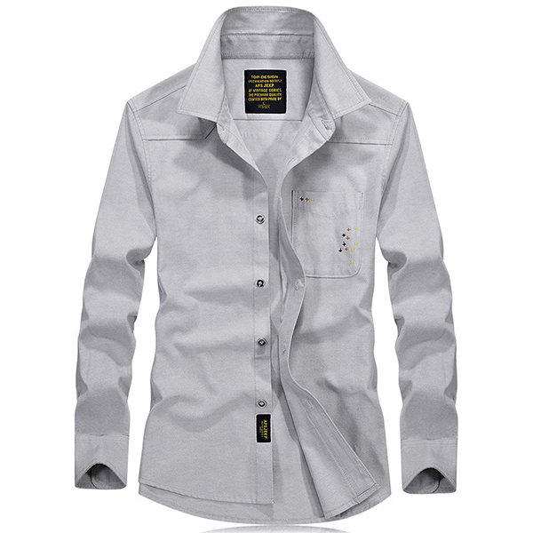 New Men Fashion Casual Cotton and Loose Long Sleeve Shirts