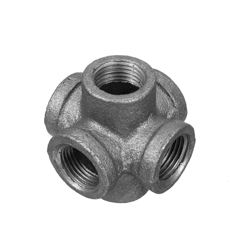 6 Way G1/2 Inch DN15 Industrial Iron Valves Pipes Fittings Furniture Rack DIY Decor