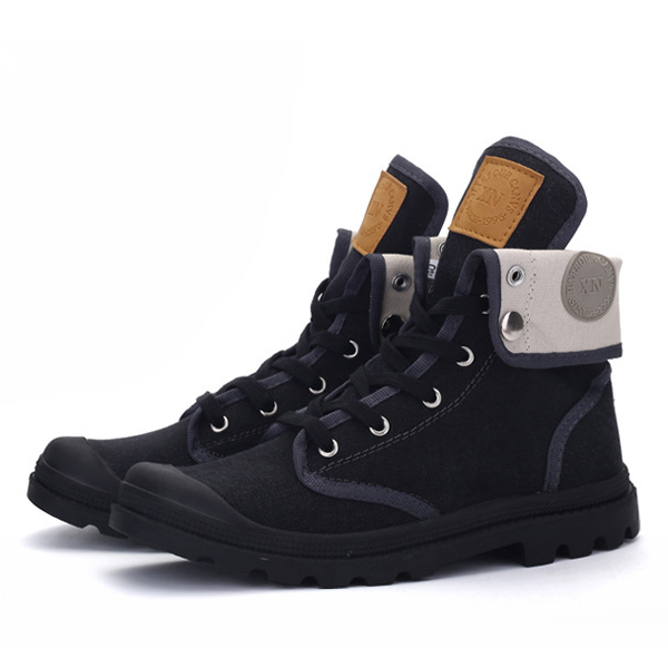 Lace Up Warm Wool Lining Round Toe Soft Sole Short Boots For Men