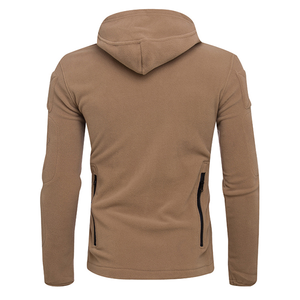 Men's Outdoor Tactical Fleece Warm Hoodies Jacket Casual Multi Head Zipper Hand Hole Sweater