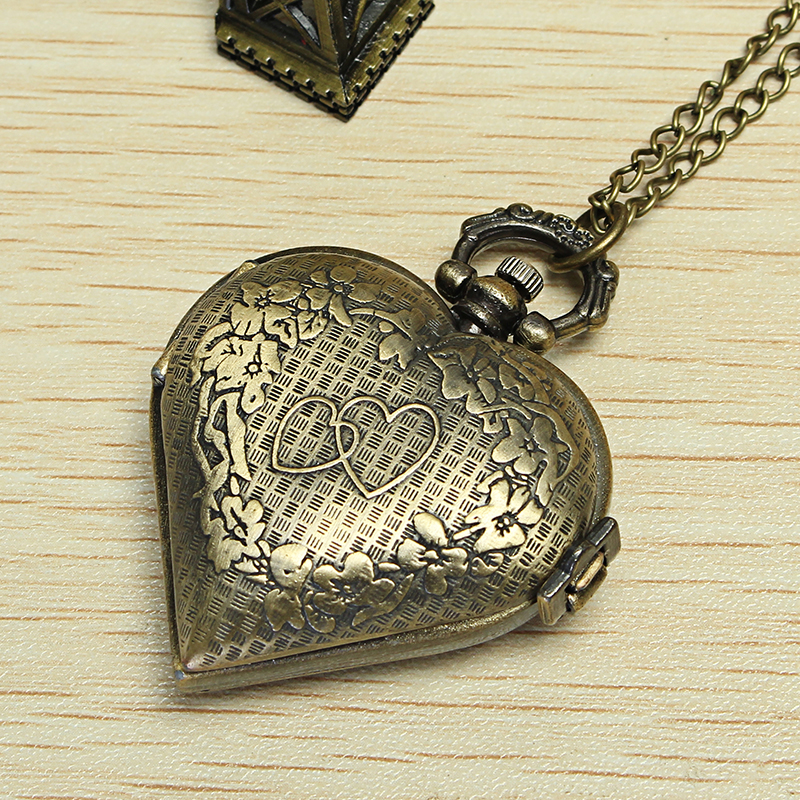 DEFFRUN Vintage Bronze Heart Shaped Quartz Pocket Watch