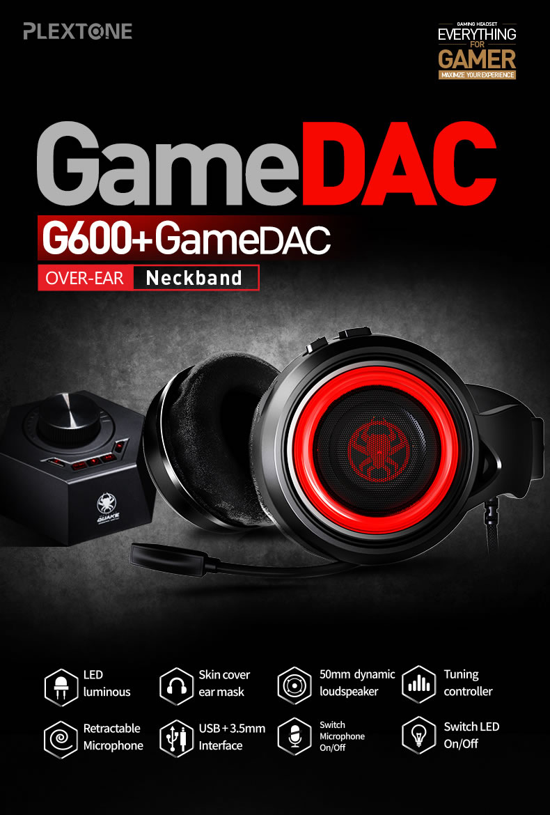 PLEXTONE G600 Gaming Wired Dynamic Headphone+GameDAC Amplifier Stereo Bass LED With Retractable Mic