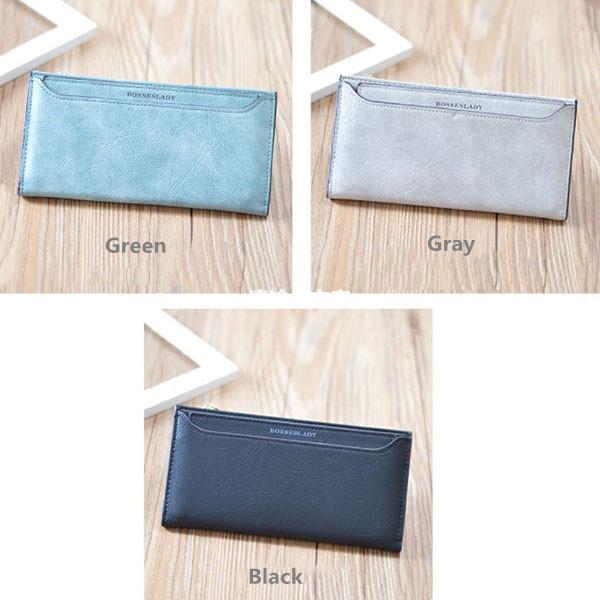Women Zipper Long Wallets Girls Candy Color Purse Detachable Card Holder Coin Bags