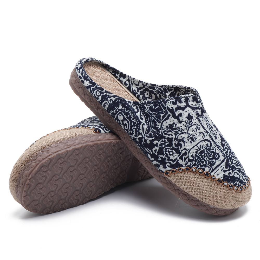 Men Comfy Breathable Flax Slippers Loafers