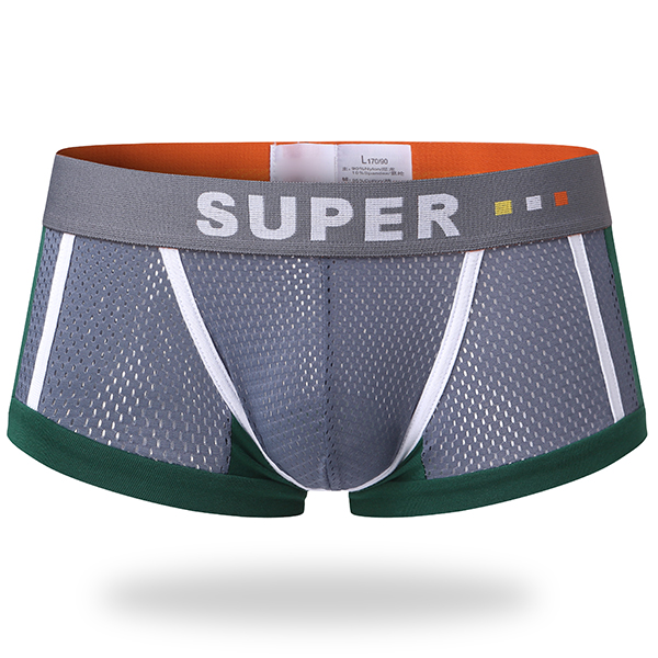 Mens Sexy Mesh Breathable Sweat Contrast Color Underwear