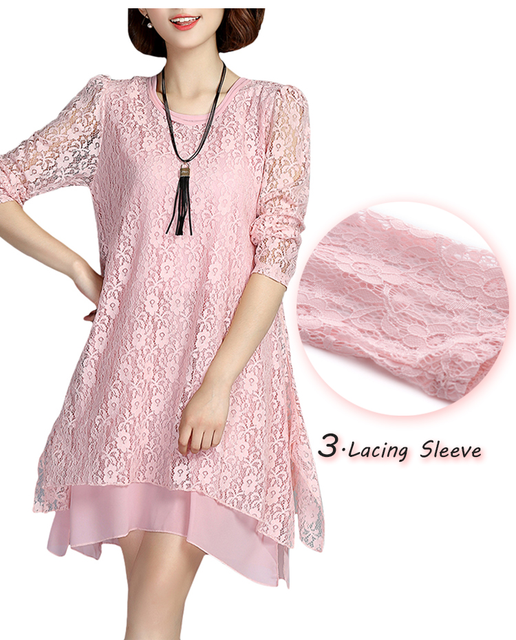 Elegant Long Sleeve O-Neck Lace Hollow Loose Women Dress