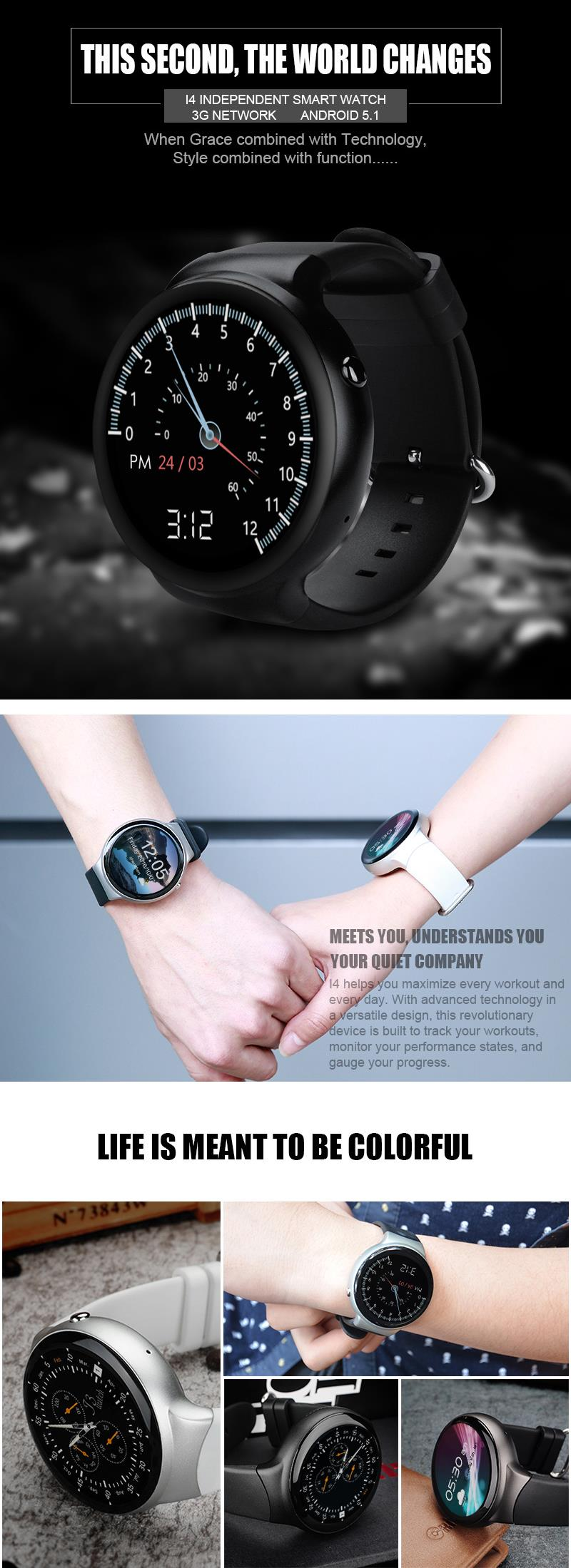 I4 MTK6580 1GB+16GB Android 5.1 SIM 3G Smart Watch Phone