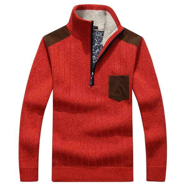 Men's Casual Business Zipper Stand Collar Wool Sweaters Patchwork Contrast Color Warm Pullover