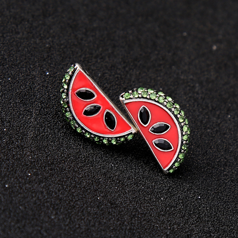Fashion Rhinestone Enamel Watermelon Piercing Earring
