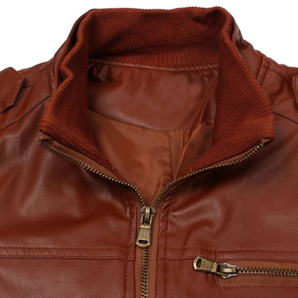 Men's Fashion Slim Casual Faux Leather Zipper Motorcycle Jacket